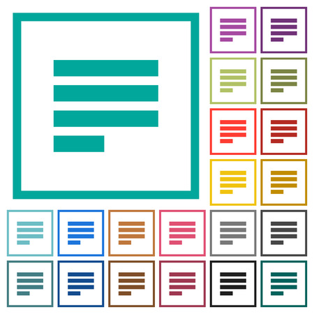 Text align justify last row left flat color icons with quadrant frames on white background.
