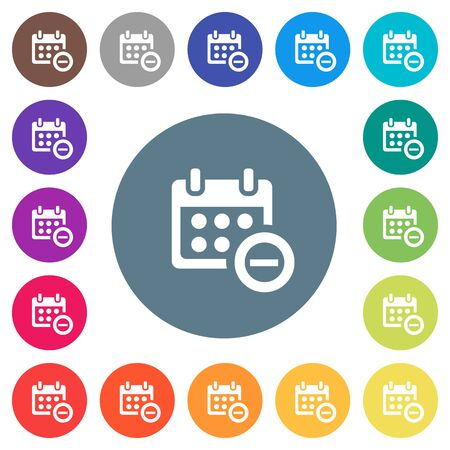 Remove event from calendar flat white icons on round color backgrounds, 17 background color variations are included.