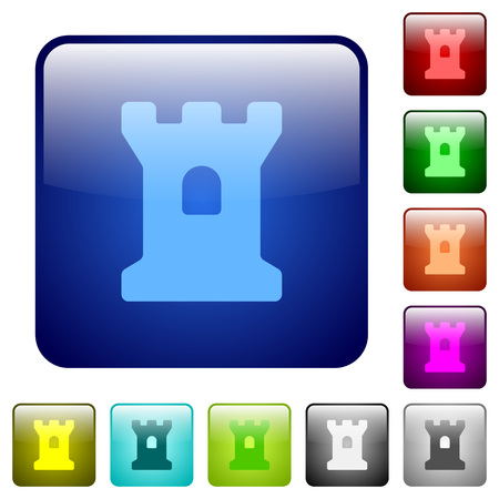 Bastion icons in rounded square color glossy button set Illusztráció