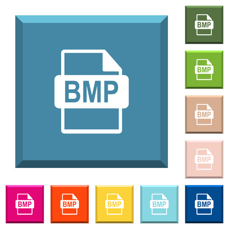 BMP file format white icons on edged square buttons in various trendy colors
