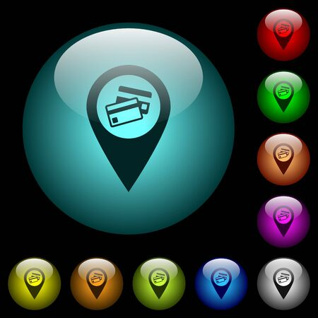 Credit card acceptance GPS map location icons in color illuminated spherical glass buttons on black background. Can be used to black or dark templates Stock fotó - 93919311