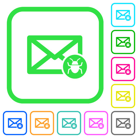 Spam mail vivid colored flat icons in curved borders on white background