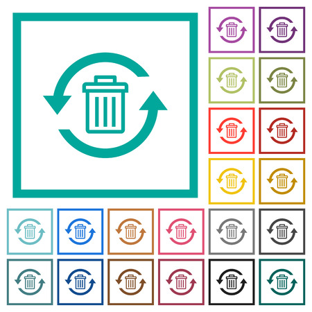 Undelete flat color icons with quadrant frames on white background