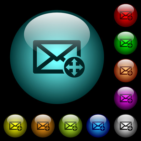 Move mail icons in color illuminated spherical glass buttons on black background. Can be used to black or dark templates