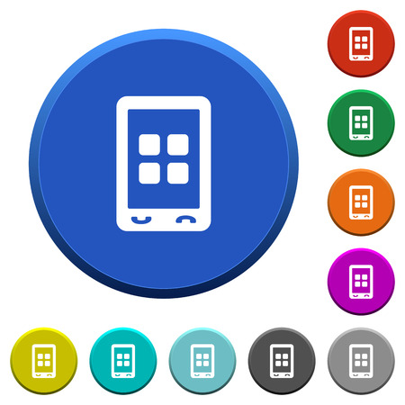 Mobile applications round color beveled buttons with smooth surfaces and flat white icons. Ilustrace