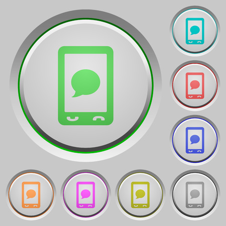 沈んだプッシュボタン上のモバイルSMSメッセージカラーアイコン。  イラスト・ベクター素材