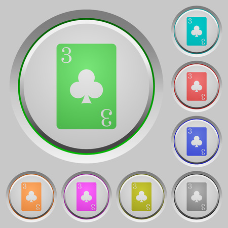 Three of clubs card color icons on sunk push buttons.