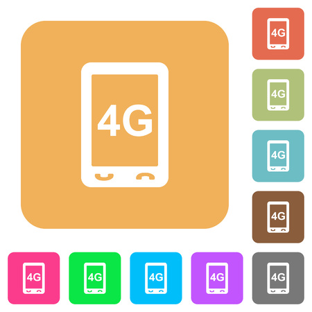 Fourth generation mobile connection speed flat icons on rounded square vivid color backgrounds.