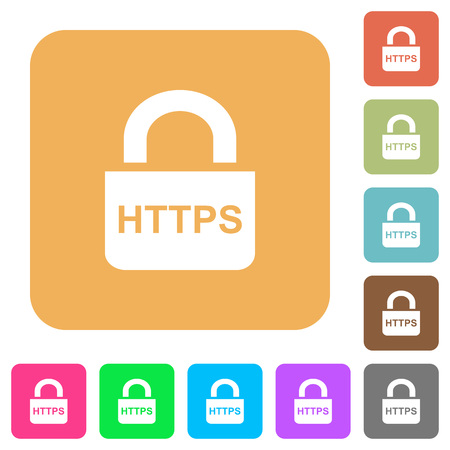 Secure https protocol flat icons on rounded square vivid color backgrounds. Banco de Imagens - 93847554
