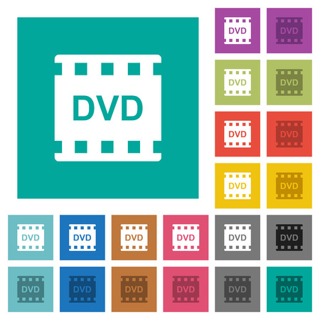 DVD movie format multi colored flat icons on plain square backgrounds. Included white and darker icon variations for hover or active effects.