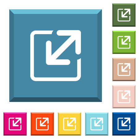 Resize window white icons on edged square buttons in various trendy colors Illustration