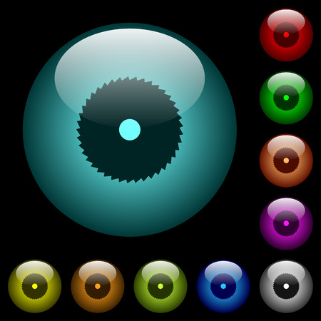 Circular saw icons in color illuminated spherical glass buttons on black background. Can be used to black or dark templates Ilustrace