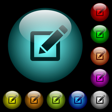 Editing box with pencil icons in color illuminated spherical glass buttons on black background. Can be used to black or dark templates