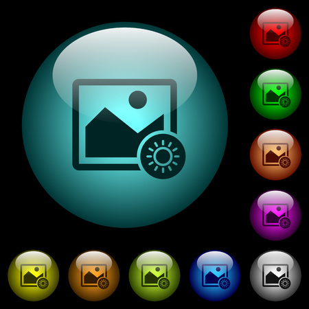 Adjust image brightness icons in color illuminated spherical glass buttons on black background. Can be used to black or dark templates Stock fotó - 93835241