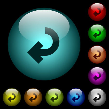 Return arrow icons in color illuminated spherical glass buttons on black background. Can be used to black or dark templates