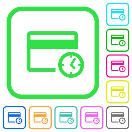 Credit card transaction history vivid colored flat icons in curved borders on white background