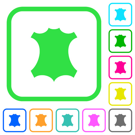 Echt lederen symbool levendige gekleurde plat pictogrammen in gebogen randen op witte achtergrond