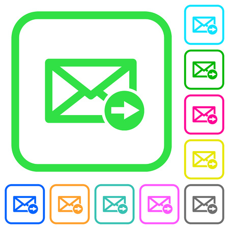 Mail forwarding vivid colored flat icons in curved borders on white background