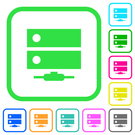 Network drive vivid colored flat icons in curved borders on white background