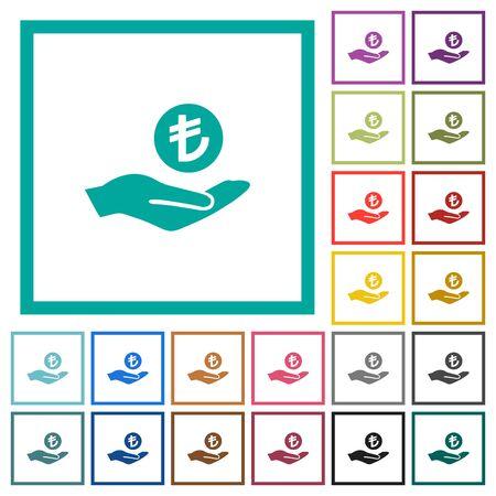 Turkish Lira earnings flat color icons with quadrant frames on white background Çizim