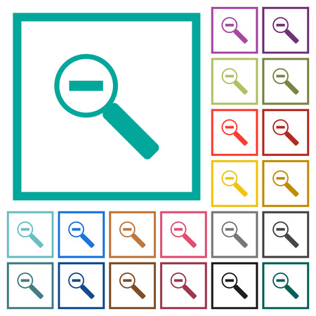 Zoom out flat color icons with quadrant frames on white background