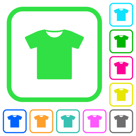 T-shirt vivid colored flat icons in curved borders on white background
