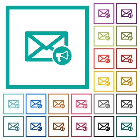 Mail reading aloud flat color icons with quadrant frames on white background