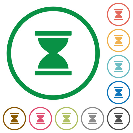 Hourglass flat color icons in round outlines on white background Vektorové ilustrace