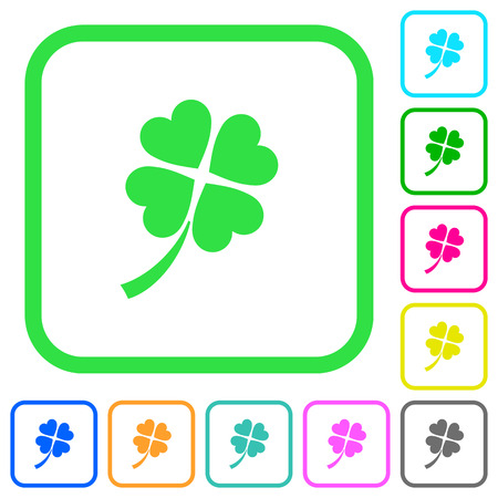 Trèfle à quatre feuilles vives couleurs icônes plates dans les frontières courbes sur fond blanc