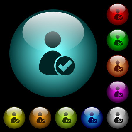 User account accepted icons in color illuminated spherical glass buttons on black background. Can be used to black or dark templates