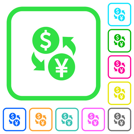Dollar Yen money exchange vivid colored flat icons in curved borders on white background