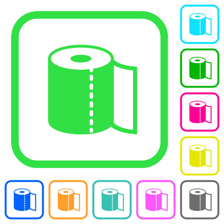 Paper towel vivid colored flat icons in curved borders on white background Illustration