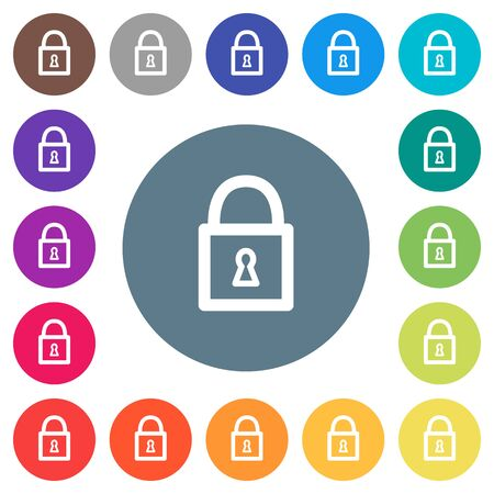 Locked padlock with keyhole flat white icons on round color backgrounds. 17 background color variations are included.