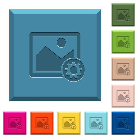 Image settings engraved icons on edged square buttons in various trendy colors