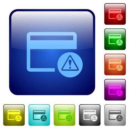 Creditcardwaarschuwingspictogrammen in afgeronde vierkante kleur glanzende knop set