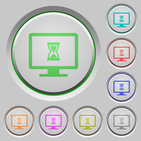 Busy computer color icons on sunk push buttons Illustration