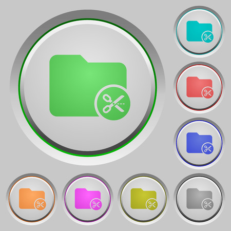 Cut directory color icons on sunk push buttons 向量圖像