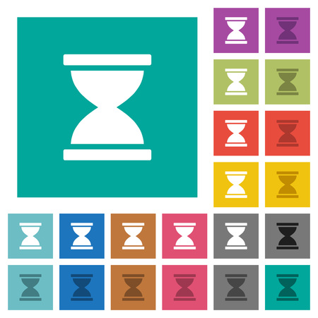 Hourglass multi colored flat icons on plain square backgrounds. Included white and darker icon variations for hover or active effects. Vektorové ilustrace