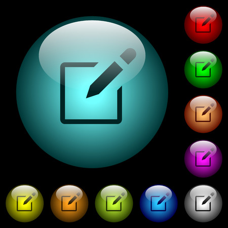 Editbox with pencil icons in color illuminated spherical glass buttons on black background. Can be used to black or dark templates