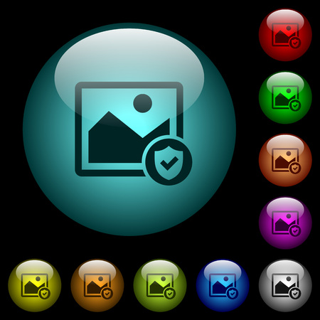 Protected image icons in color illuminated spherical glass buttons on black background. Can be used to black or dark templates