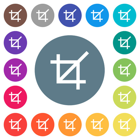 Crop tool flat white icons on round color backgrounds. Background color variations are included.
