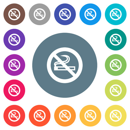 No smoking sign flat white icons on round color backgrounds. Background color variations are included.
