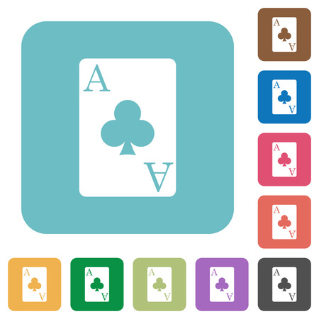 Ace of clubs card white flat icons on color rounded square backgrounds Иллюстрация