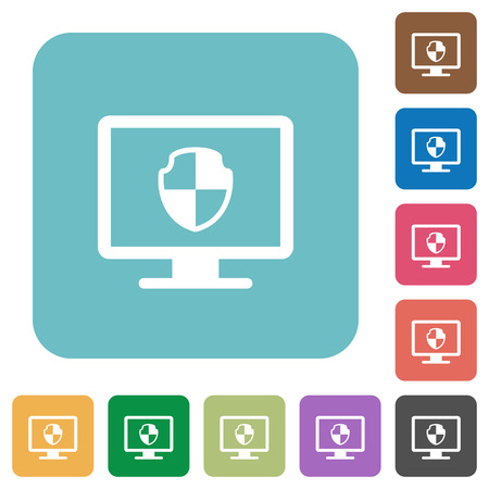 Computer security white flat icons on color rounded square backgrounds