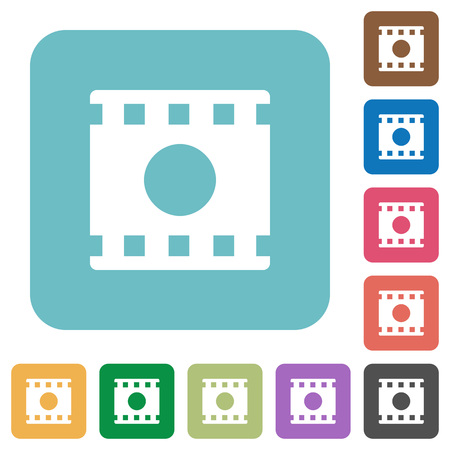 Movie record white flat icons on color rounded square backgrounds