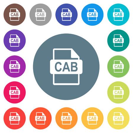 CAB-bestandsformaat plat witte pictogrammen op ronde kleurenachtergronden. Achtergrondkleurvariaties zijn inbegrepen. Stock Illustratie