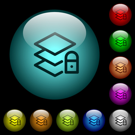 Locked layers icons in color illuminated spherical glass buttons on black background. Can be used to black or dark templates