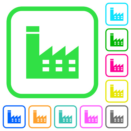 Factory building vivid colored flat icons in curved borders on white background. Illustration