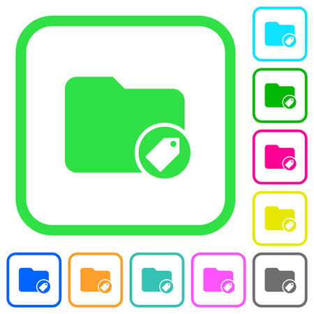 Tagging directory vivid colored flat icons in curved borders on white background Illustration