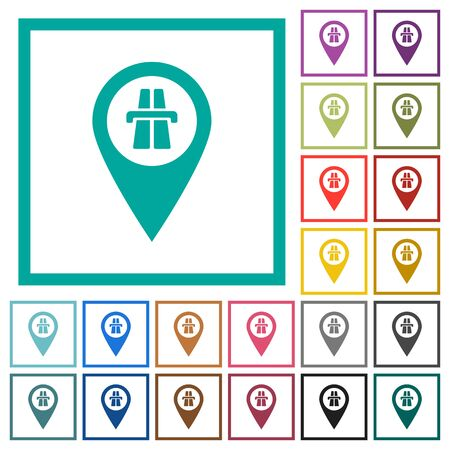 Highway GPS map location flat color icons with quadrant frames on white background